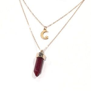 Jewelry - Red & Gold Layered Moon Stone Necklace